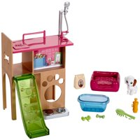 Barbie Furniture Set Pet Room with Puppy, Station with Slide & More