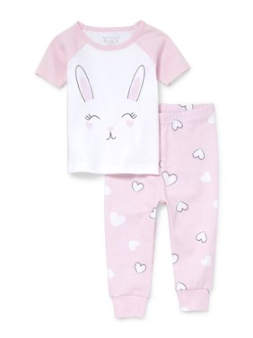 Baby And Toddler Girls Short Sleeve Bunny Top And Heart Printed Pants Snug-Fit PJ Set (Baby and Toddler Girls)