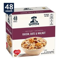 Quaker Instant Oatmeal, Raisin Date & Walnut, 1.30 Packets, 48 count