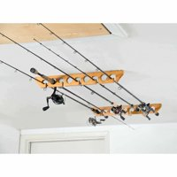 Organized Fishing Wooden Ceiling Horizontal Rod Rack, 9 Capacity