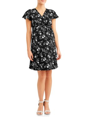 Maternity Floral Wrap Dress - Available in Plus Sizes
