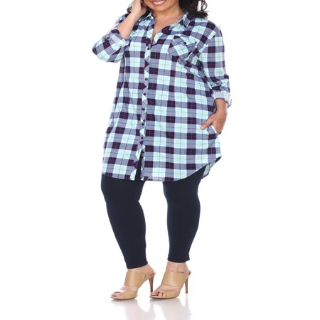 Women's Plus Size Plaid Tunic Top - Plus Size Prostitute