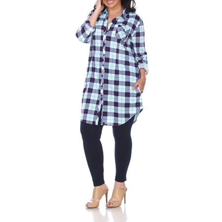 Women's Plus Size Plaid Tunic Top - Plus Size Cowgirl