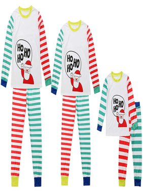 Mama Dad Kid Ho Ho Ho Santa Claus Print Family Matching Clothes Long Sleeve and Pants Striped Christmas Pajamas Set