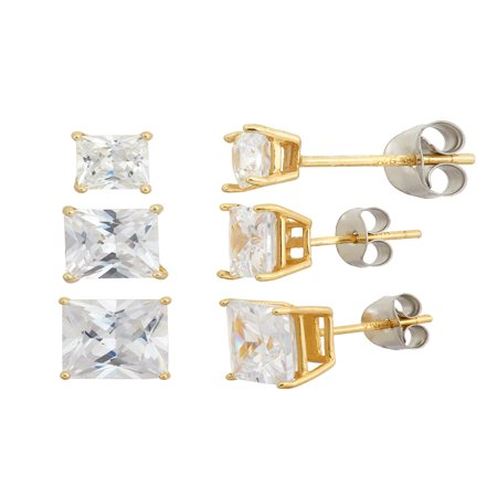 White CZ Square 4mm, 5mm and 6mm 18kt Gold over Sterling Silver Stud Earrings Set