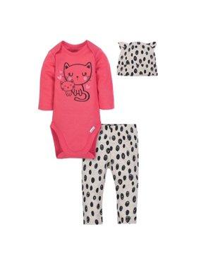Gerber Baby Girl Onesies Bodysuit, Pants and Cap, 3pc Set