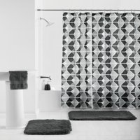 Mainstays Trapezoid 15-Piece Shower Curtain Bath Set