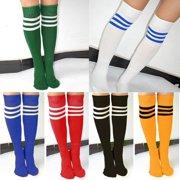 e817180b1a0 Fashion Socks Women Men Unisex Athletic Stripe Sports Football Running Knee  High Tube Socks