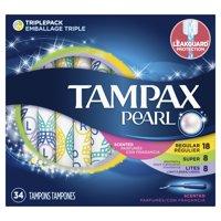 Tampax Pearl Triple Pack (Light/Regular/Super) Plastic Tampons, Scented, 34 Count
