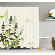 Dragonfly Shower Curtain Nature Plants Grass With Wildflowers Paintbrush Effects Print Fabric Bathroom