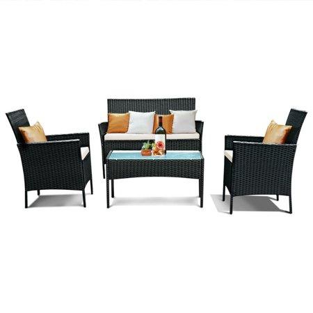 Costway 4 PC Outdoor Rattan Furniture Set Loveseat Sofa Cushioned Patio Garden Steel
