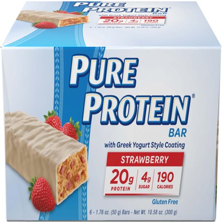 Full Bar Diet Bars (Pure Protein Bar, Strawberry Greek Yogurt, 20g Protein, 6 Ct)