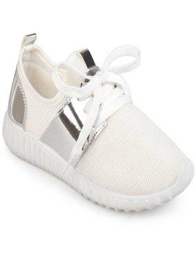 Brinley Co. Women's Metallic Fabric Lightweight Breathable Sneakers