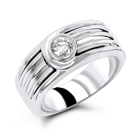 Rings 14K Mens Natural 0.25 Ctw Diamond Wedding Band Solitaire Ring (White Gold Size 6) ()