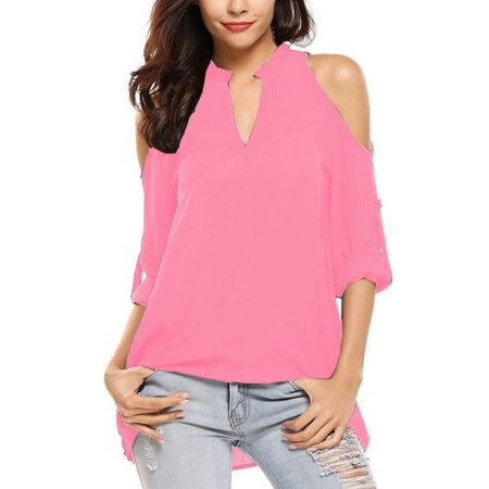 Women Fashion V-Neck Off the Shoulder Blouse Adjustable Half/long Sleeve Tops Loose Plus Size Top Causal Pure Color T-Shirt - Pink Satin Ladies