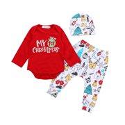 12b828d4c83 3pcs Set First Christmas Clothes Snowflake Newborn Baby Boys Girls Romper  Bodysuit+Pants+Hat