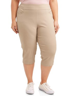 Women's Plus Size Stretch Woven Capri Pant