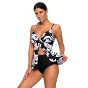 4da72211eea Women Swimsuit Tankini Celebrity White Paper Cut Print Sexy Flyaway Swimwear  for Women (Small,