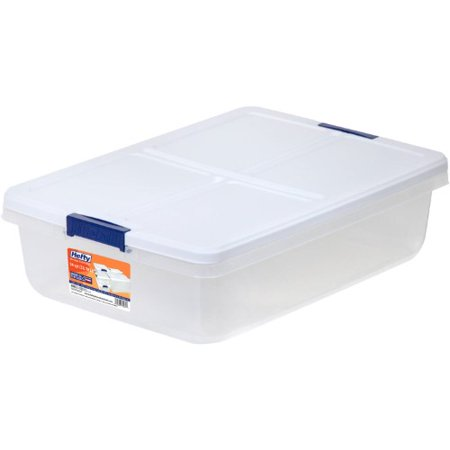 Hefty 34-Quart Latch Box, Clear Base, White Lid and Blue - Clear Plastic Containers With Lids