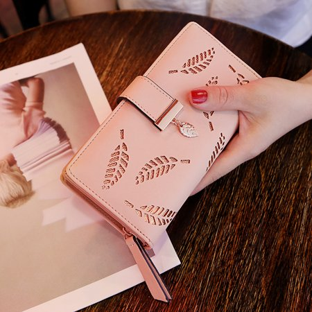 Women Hollow Out Leaf Long Clutch Purse Card Holder Bifold Leather -
