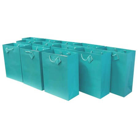 Medium [7.5 x 3.5 x 9 x 3.5] Paper Gift Bags with Handles, Party Favor Bags for Birthday Parties, Weddings, Holidays and All Occasions (12 Gift Bags) Turquoise - Holiday Cookie Bags