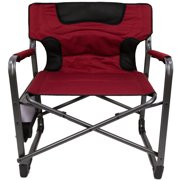 Ozark Trail XXL Folding Padded Director Chair with Side Table, Red 600 lb capacity