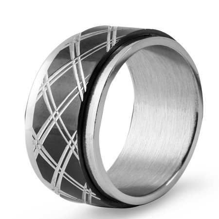 Textured Spinner Ring (Two Tone Stainless Steel Diamond Textured Inlay Spinner Ring)