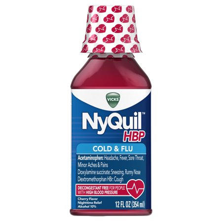 Vicks NyQuil, High Blood Pressure Cold & Flu Medicine, Relieves Headache, Fever, Sore Throat, Minor Aches & Pains, 12 Fl Oz, Cherry