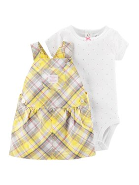 Baby Girl Short Sleeve Top & Skirtall, 2pc Outfit Set