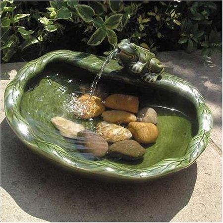 - Smart Solar Green Glazed Ceramic Frog Solar Bird Bath Fountain