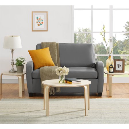 Mainstays 54 Quot Faux Leather Loveseat Sleeper Grey