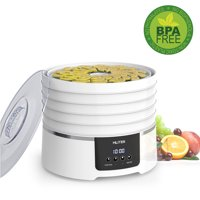 Mliter Digital Electric Food Dehydrator, Five Trays with Countdown Function Time Control and Automatically Stop Digital Display Control Panel, 450W/White