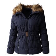 64987a050e3 Womens Fur Lined Coat with Belt Quilted Faux Fur Insulated Winter Jacket  Parka Outerwear