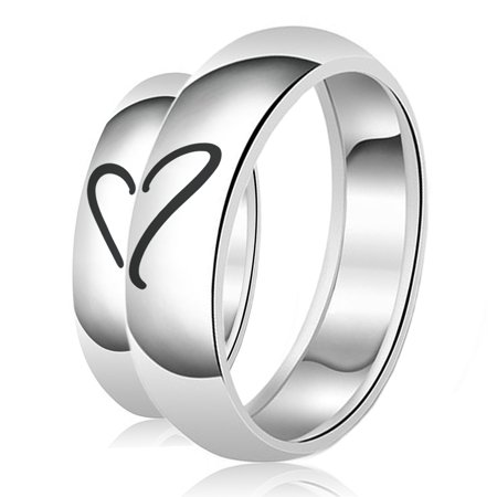 His & Her Engraved Heart Puzzle Classic Sterling Silver Plain Wedding Band Ring
