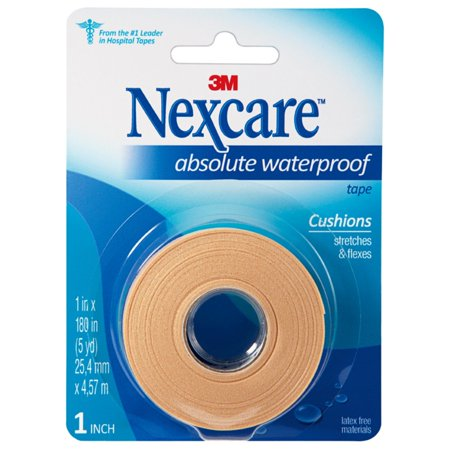 Nexcare Absolute Waterproof First Aid Tape, 1 in x 5 yds Adhesive First Aid Tape