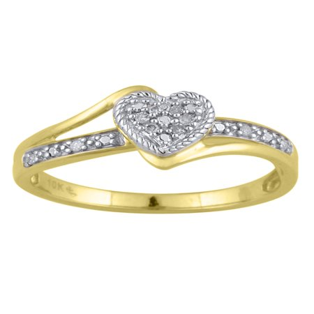 Diamond Accent 10kt Yellow Gold Heart Promise Ring Diamond Thick Design Ring