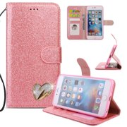 iPhone 6S Plus Case Wallet, iPhone 6 Plus Case, Allytech Glitter Folio Kickstand with
