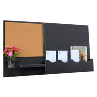Message Center with Chalkboard, Cork Board, Mail Slots, Coat Hooks & Mason Jar