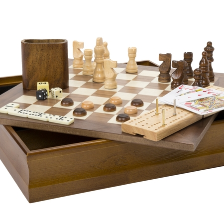 7-in-1 Classic Wooden Board Game Set – Old Fashioned Family Game Night Cards, Dice, Chess, Checkers, Backgammon, Dominoes and Cribbage by Hey! (Polystone Chess Set)