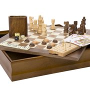 7-in-1 Classic Wooden Board Game Set – Old Fashioned Family Game Night Cards, Dice, Chess, Checkers, Backgammon, Dominoes and Cribbage by Hey! Play!