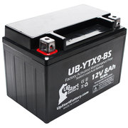 Replacement 2012 Kawasaki EX250, Ninja 250R 250CC Factory Activated, Maintenance Free, Motorcycle Battery - 12V, 8Ah, UB-YTX9-BS