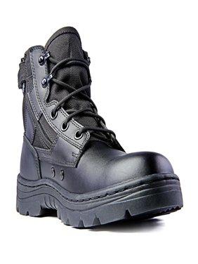 Ridge Footwear 4205 Dura-Max Mid-Zipper Tactical Black Leather Boots 6-inch