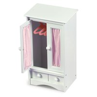 """Badger Basket Doll Armoire with Three Hangers - White/Pink - Fits American Girl, My Life As & Most 18"""" Dolls"""