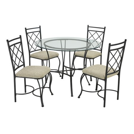 Mainstays 5-Piece Glass Top Metal Dining (Furniture Stone Top Dining Room)