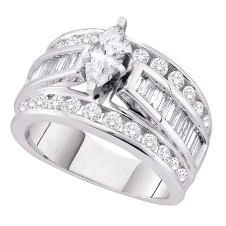 14k White Gold Marquise Diamond Solitaire Engagement Ring Fancy Bridal Ring Round Baguette Stones 1.0 ctw