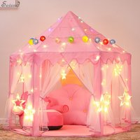 Children's Indoor and Outdoor Hexagon Fairy Princess Castle Play Tent, Sevend Outdoor Fairy House for Child (Pink)