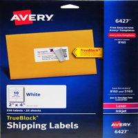 "Avery White Shipping Labels for Inkjet/Laserjet Printers, 2"" x 4"", Pack of 250"