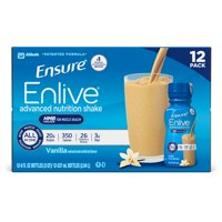 Ensure Enlive Advanced Nutrition Shake with 20 grams of High-Quality protein, Meal Replacement Shakes, Vanilla, 8 fl oz, 12 count