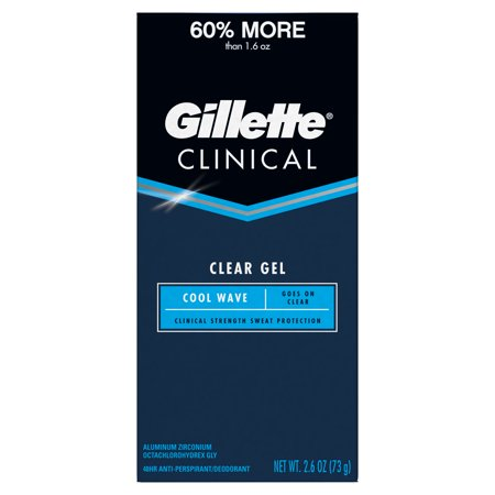 - Gillette Clinical Clear Gel Cool Wave Antiperspirant and Deodorant, 2.6 oz