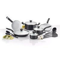 T-fal, Initiatives Ceramic, C921SG, PTFE-free, PFOA-free, Dishwasher Safe Cookware, 16 Pc. Set, Black